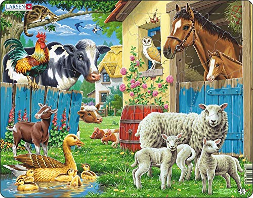 - Larsen Puzzles Farm Animals Educational Jigsaw Puzzle - 23 Piece Tray & Frame Style Puzzle - Exclusive Premium Hand Made Puzzles - Imported from Norway