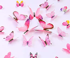 Kakuu 36PCS Butterfly Wall Decals - 3D Butterflies Wall Stickers Removable Mural Decor Wall Stickers Decals Wall Decor Home Decor Kids Room Bedroom Decor Living Room Decor- Pink