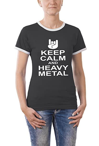 Touchlines Kontrast T-shirt Keep Calm And Heavy Metal Girlie Ringer - Camiseta Mujer: Amazon.es: Ropa y accesorios