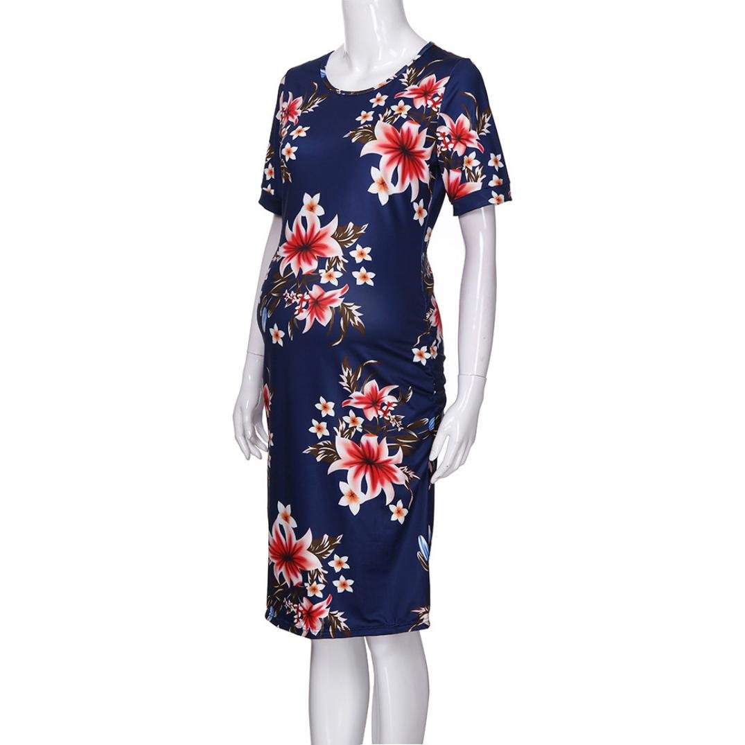 Hatoys Women Mom Mother Floral Wrap Sundress, Short Sleeve Pregnant Ruched Maternity Dresses (L, Navy -A)