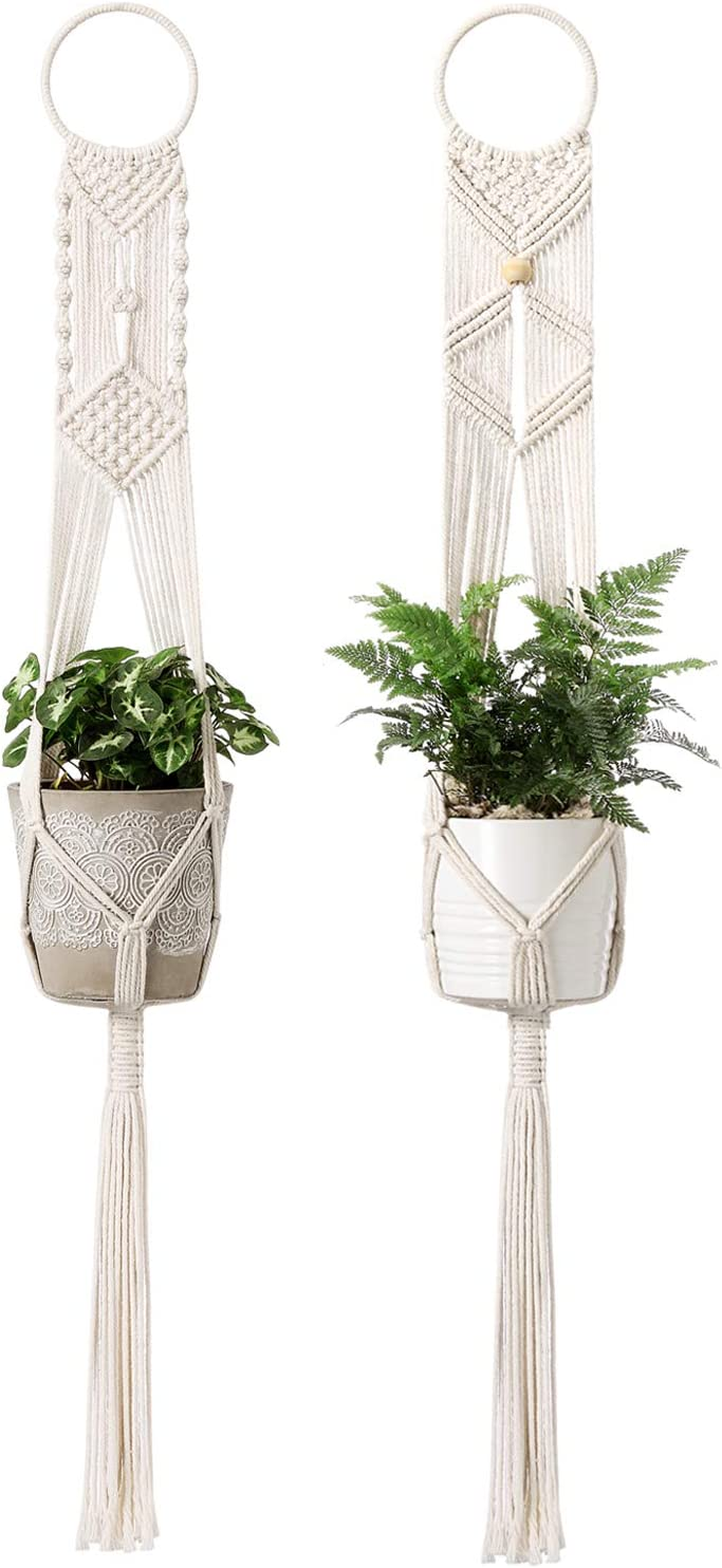 Mkono 2Pcs Macrame Plant Hangers Indoor Wall Hanging Planter Holder Cotton Rope Home Boho Decor 40 inches