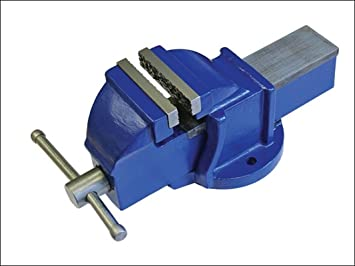 METAL POWER Cast Iron 100mm Bench Vice with Swivel Base (Blue)