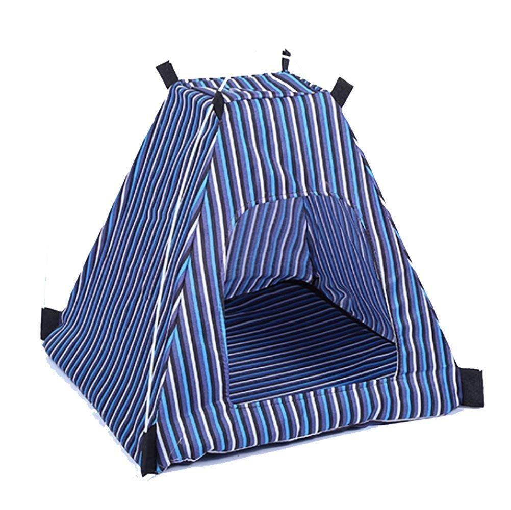 A Folding Pet Tent Dog House Camping Cat Kennel Bed Beach Tent Kennel with Mat Striped Outdoor,A