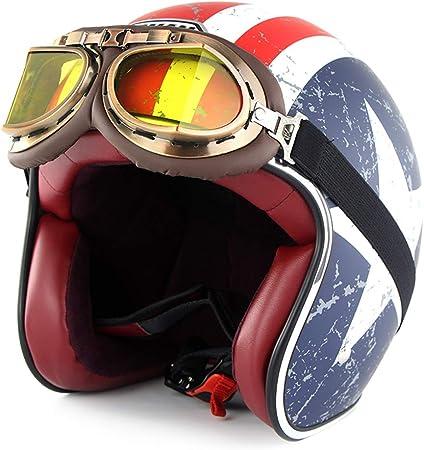 SOMAN Vintage Open Face Moto Casque Dot Certification 3//4 Moto Jet Bobber Chopper Crash Cruiser Casque avec Lunette Pare-Soleil Captain America ,M 56~57cm