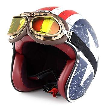SOMAN Casco de Motocicleta Vintage Cara Abierta certificación Dot 3/4 Moto Jet Bobber Chopper Crash Cruiser Casco con Visera Sol Gafas (Capitán América) ...