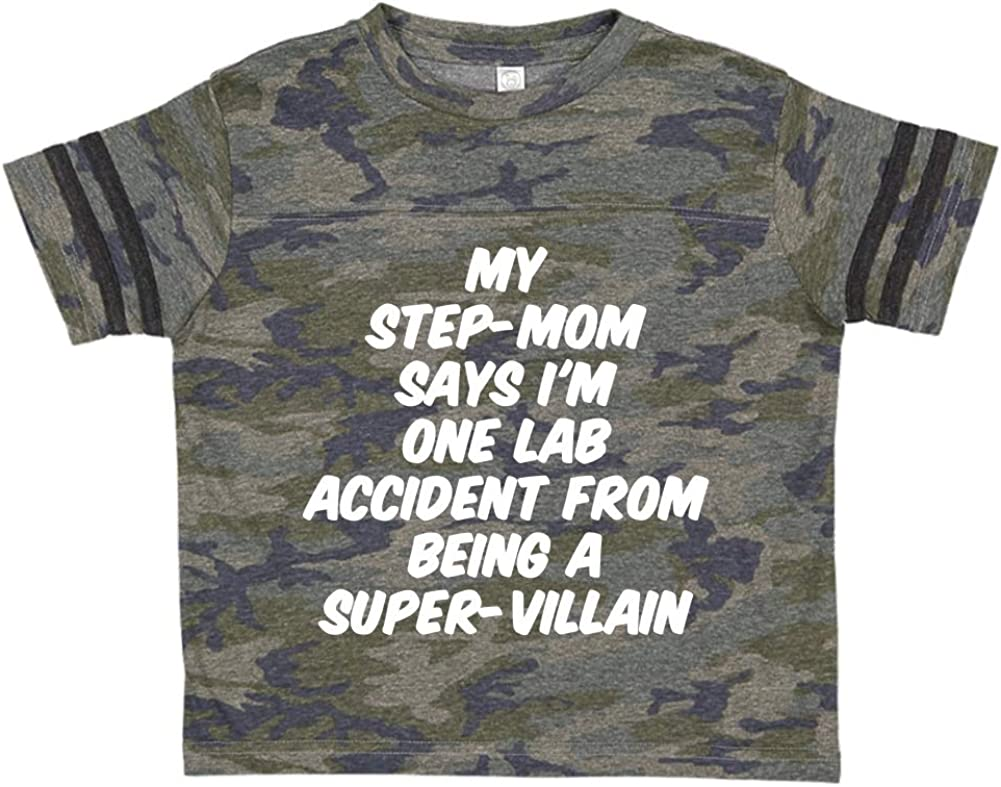 Toddler//Kids Sporty T-Shirt My Step-Mom Says Im One Lab Accident from Being A Super-Villain