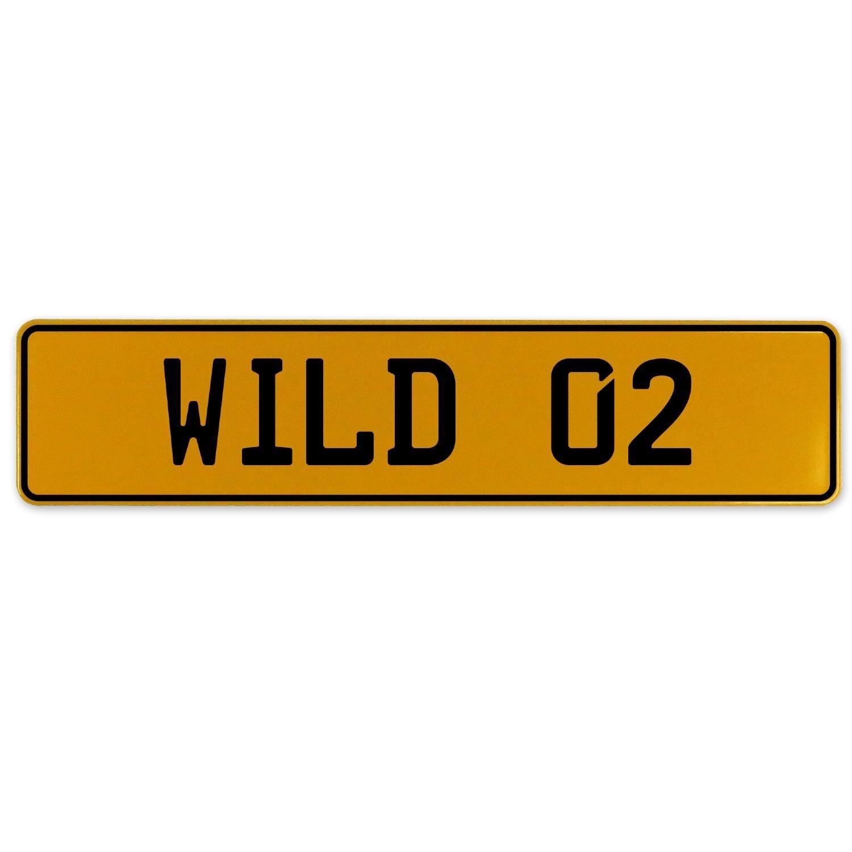 Vintage Parts 560837 Wild 02 Yellow Stamped Aluminum European Plate
