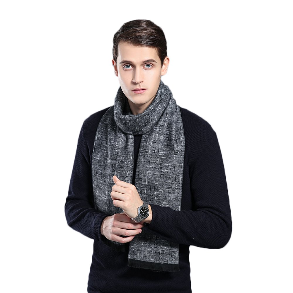 Men's Winter Cashmere Scarf Plaid Stripes Long & Fashion Formal Soft Scarves with Tassel(6 Colors)