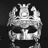 Silver Masculine Greek & Roman Soldier Men Venetian Metallic Mask For Masquerade / Party / Ball Prom / Mardi Gras / Wedding / Wall Decoration