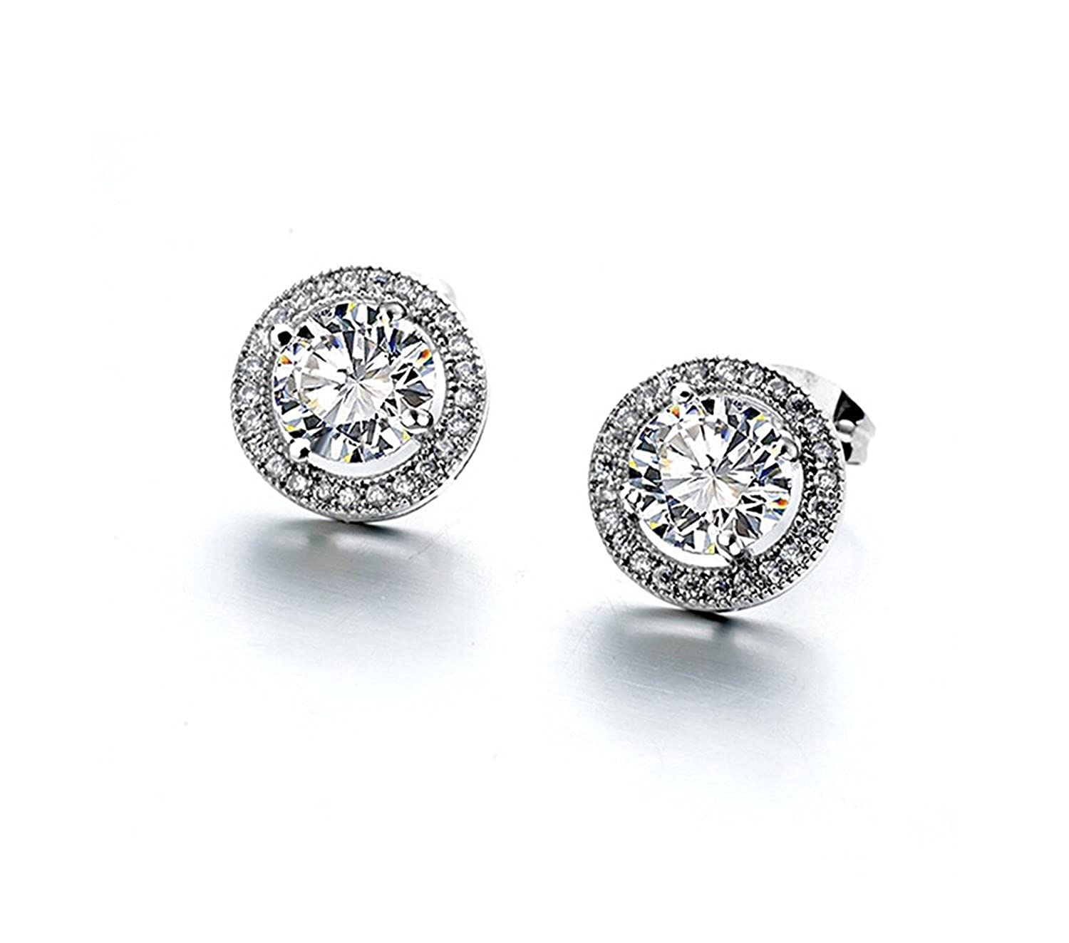 Dame GS White Gold Plated 2.00 Carat Ornate Round Cut 7mm AAA Cubic Zirconia Simple Stud Earrings Fashion Jewelry