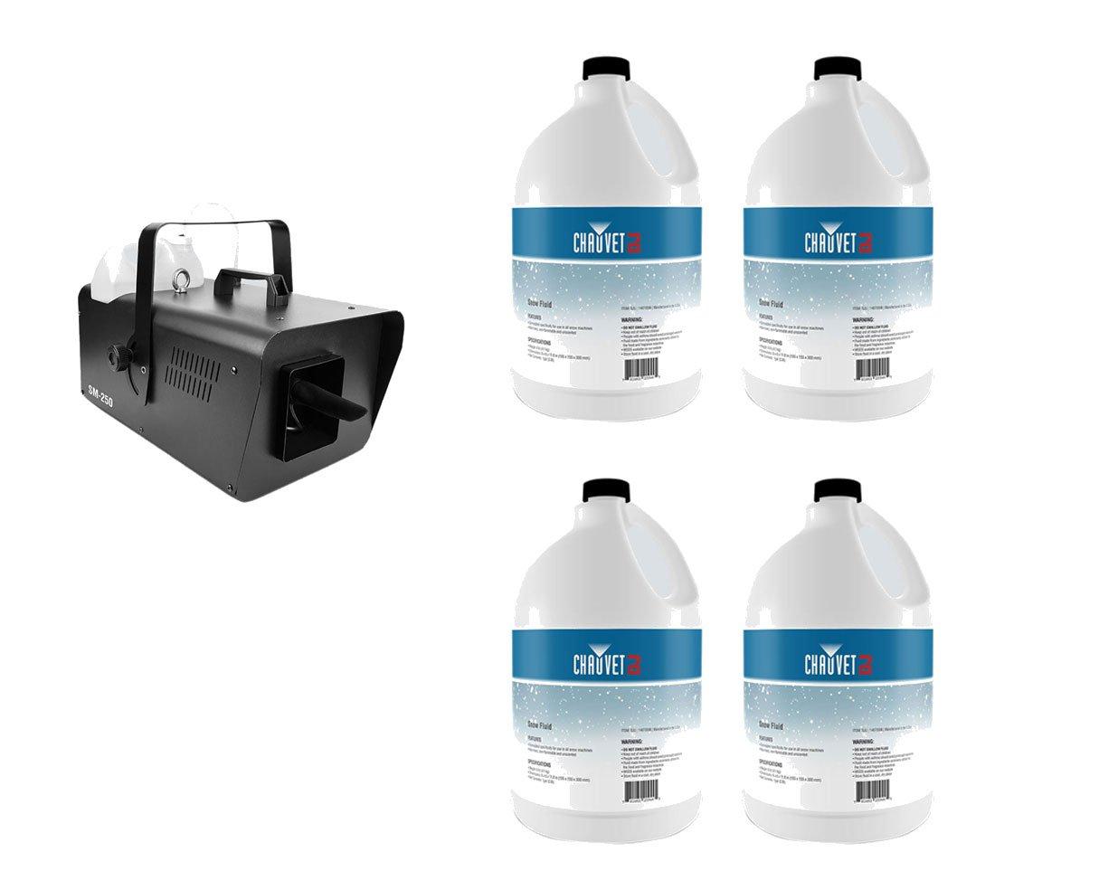 Chauvet SM-250 High-Output Snow Machine + 4x Snow Fluid Gallon