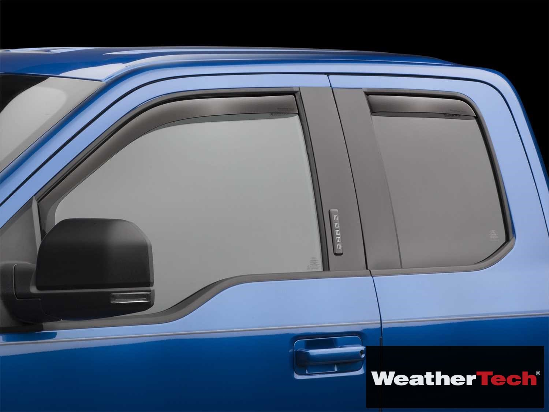 Brightt (WEA-YQF-835) Side Window Deflector Visor Rainguard 4 pc. Dark Tint - fits Ford F-150 Extended Cab - 2015 2016 2017 2018 | 15 16 17 18