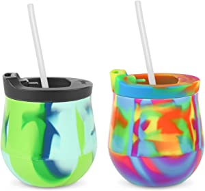 Silipint Silicone Unbreakable Wine Glass 2-Pack Tumblers with Lids and Straws. Reusable & Shatterproof Wine Tumblers, Silicone Stemless Wine Cups. Guaranteed for Life (2-Pack, Multicolor)