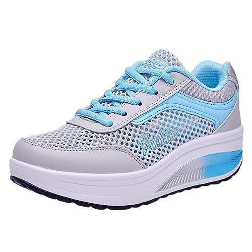 Damen Sportschuhe Schnürer Sneaker mit Keilabsatz Bequeme Plateau Freizeitschuhe Atmungsaktiv Laufschuhe Leicht Turnschuhe Erhöht Einlegesohle Schuhe