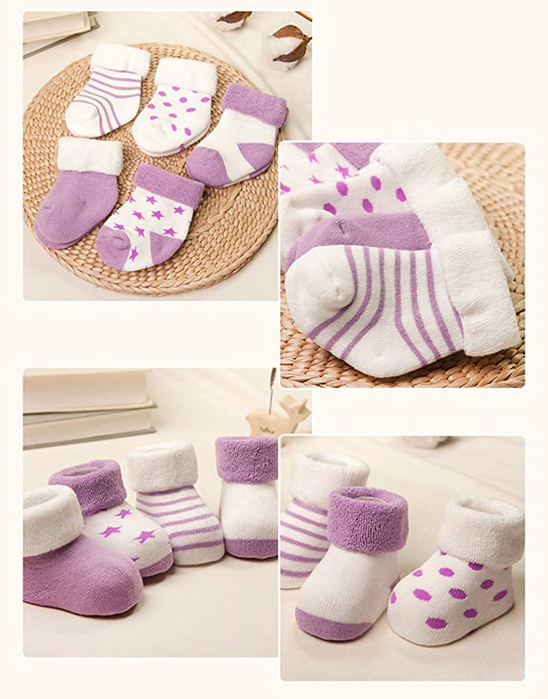 Z-Chen 5 Pairs Baby Boys Girls Cotton Socks Thick Warm