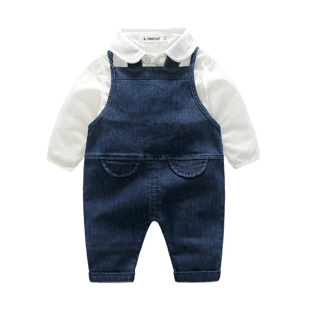 Baby Boys Girls Gentleman Bowtie Cartoon Letter Print Denim Romper T-Shirt+Suspender Hole Denim Pants Set Outfits (80, Blue)