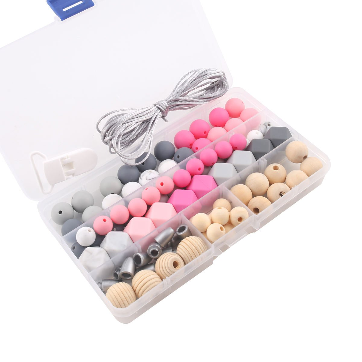 Silicone Teething Beads Kit Baby Teething Beads Pacifier Clip Wooden Teethers DIY Jewelry Chewable Nursing Necklace Accessories