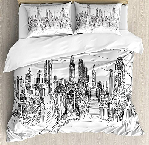 Anzona Full Size New York 3 PCS Duvet Cover Set,