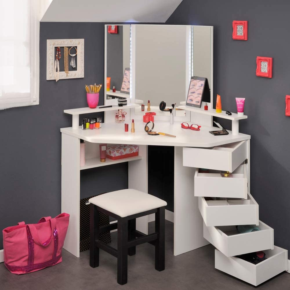 Corner Dressing Table with Lights and Mirror, Happy Beds Beauty