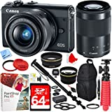 Beach Camera Canon EOS M100 Digital Camera with EF-M 15-45mm & 55-200mm IS STM Lens (Black) and Deluxe Sling Backpack Plus 64GB Accessories Bundle