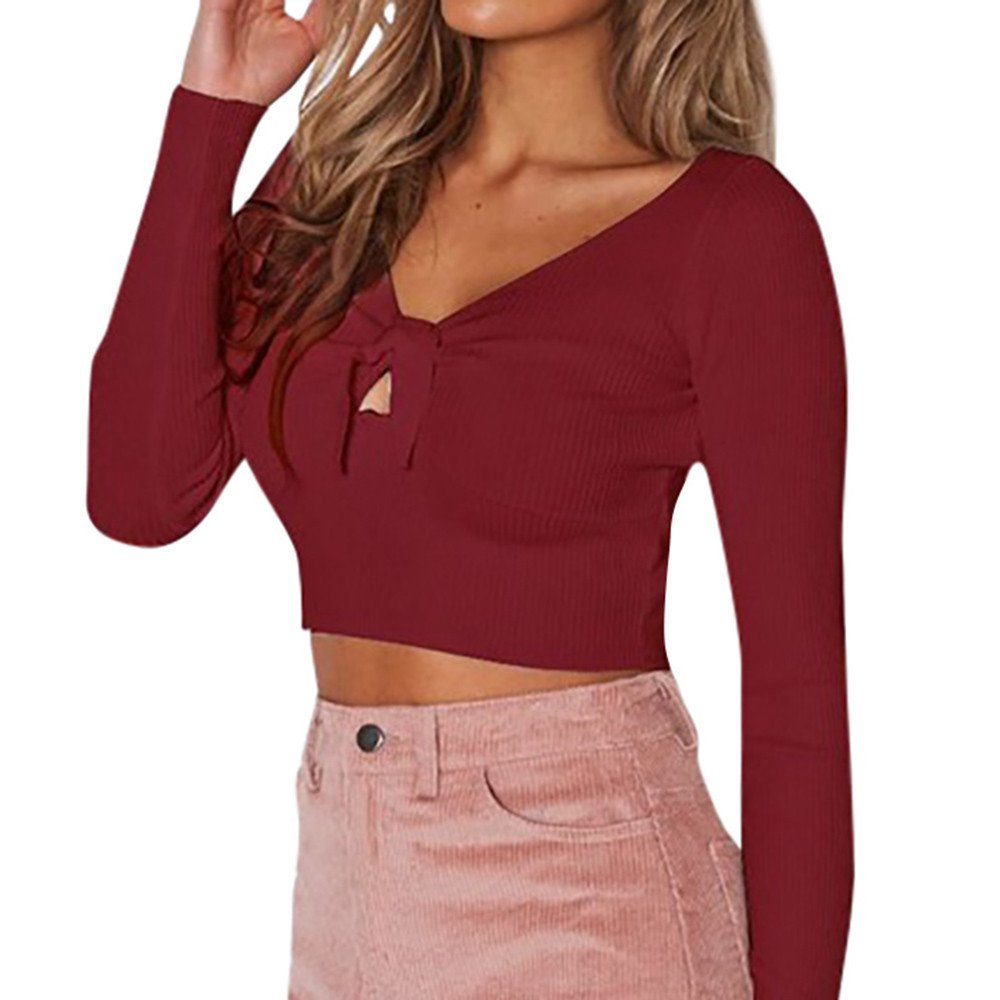 Blouses For Womens,Clearance Sale!!Farjing Women Lace up Casual Long Sleeve V Neck Shirt T-Shirt Blouse(XL,Red)