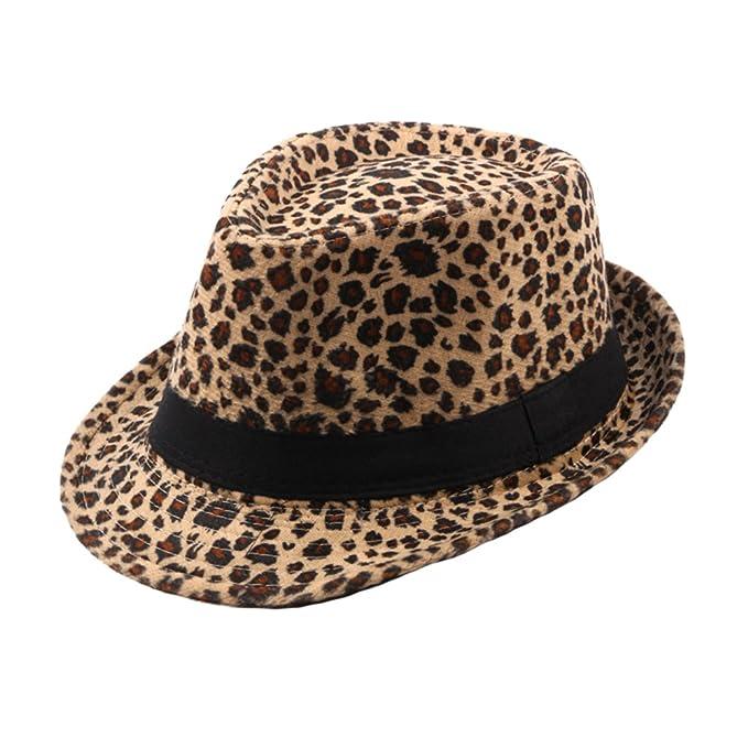 Sombreros Fedora Jazz Trilby Hombre Mujer Fieltro Leopardo Sombrero de  Otoño Invierno 1df19e9c2af0