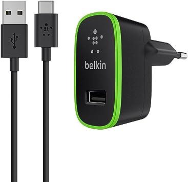 véritable moderne et élégant à la mode avant-garde de l'époque Belkin - Mini Chargeur Secteur avec Câbe USB-A vers USB-C - 1,2 m - Noir  (Compatible Samsung Galaxy S9/S9+/Note 9)