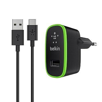 Belkin F7U001vf06-BLK - Micro cargador Universal doméstico de 10 W y cable de USB-A a USB-C (2.1 A, para Samsung Galaxy S9/S9+/Note 9) Negro