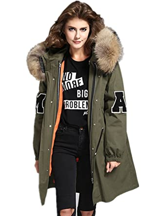 Melody Women's Loose Large Raccoon Fur Collar Hooded Long Coat ...