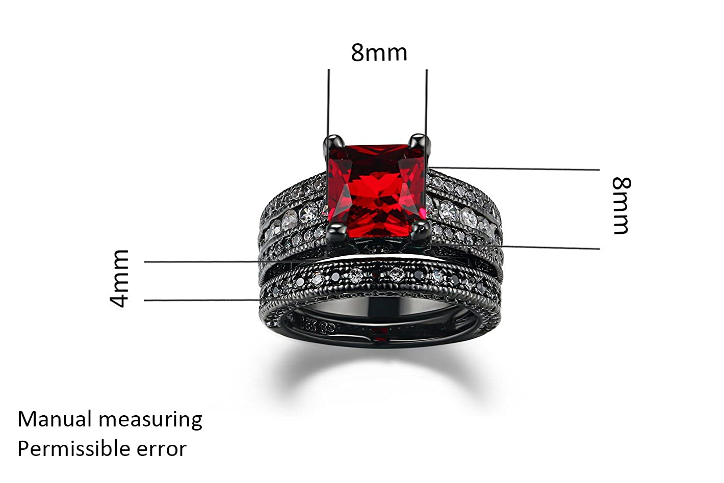 6 Colors Optional Double Fair 2 Pcs Black Gold Ring for Women Princess Cut Wedding Bands Birthday Gift