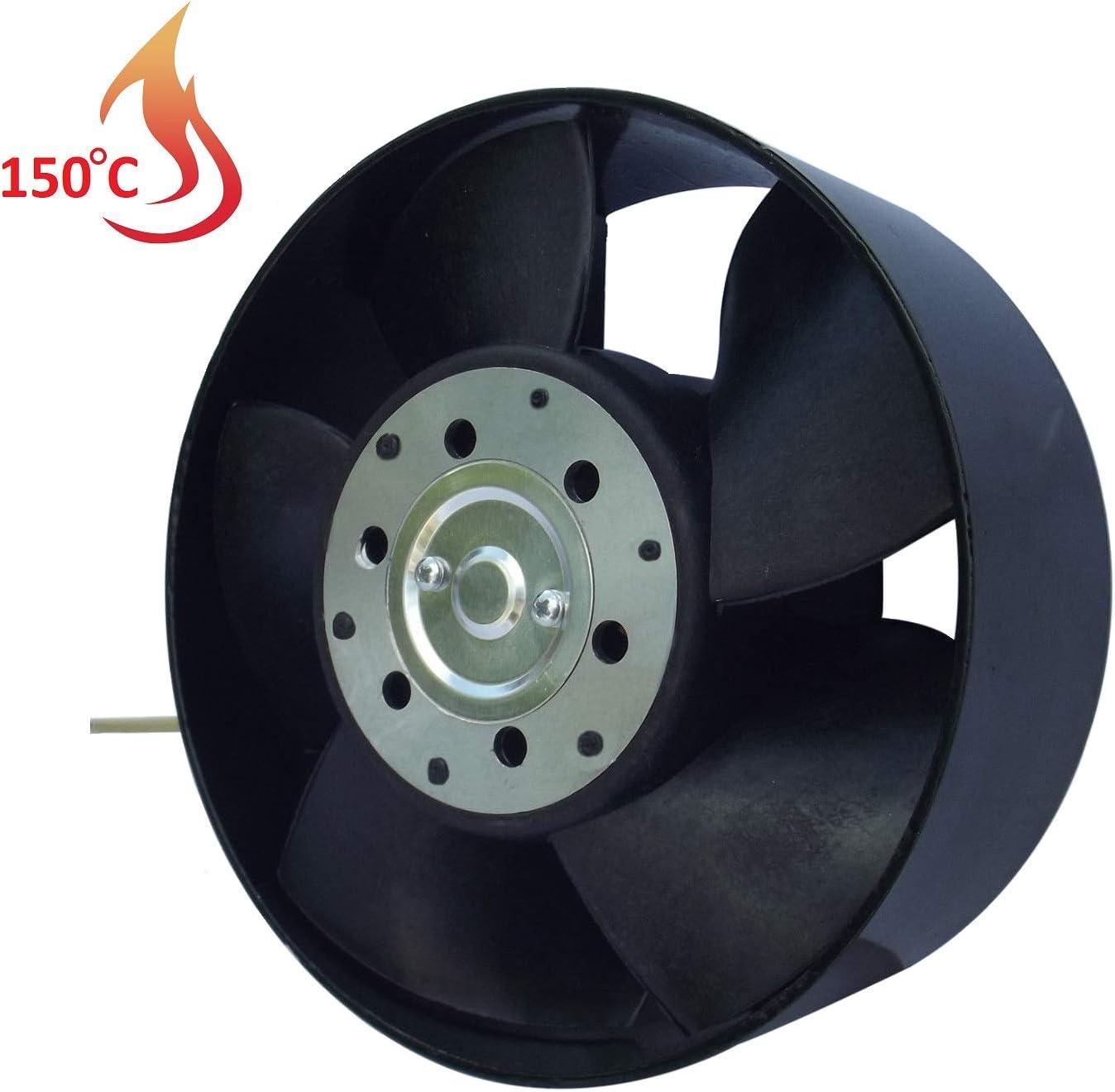 Ventilador Extractor de Alta Temperatura 150°C para conductos Circulares 150 mm Rodamiento a Bolas NSK Japón Double Sellado de Larga Vida de 30.000 Horas