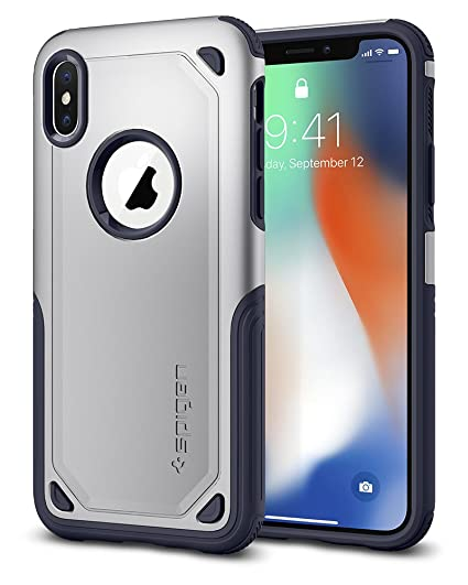 huge selection of f8225 fbfa5 Spigen Hybrid Armor iPhone X Case with Air Cushion Technology and Secure  Grip Drop Protection for iPhone X (2017) - Satin Silver