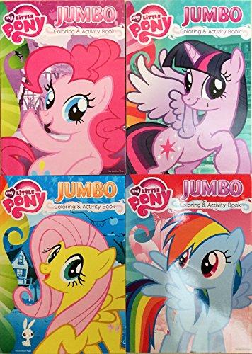 My Little Pony Jumbo Coloring & Activity Book 4 Pack - Pinkie Pie, Twilight Sparkle, Rainbow Dash & Fluttershty -