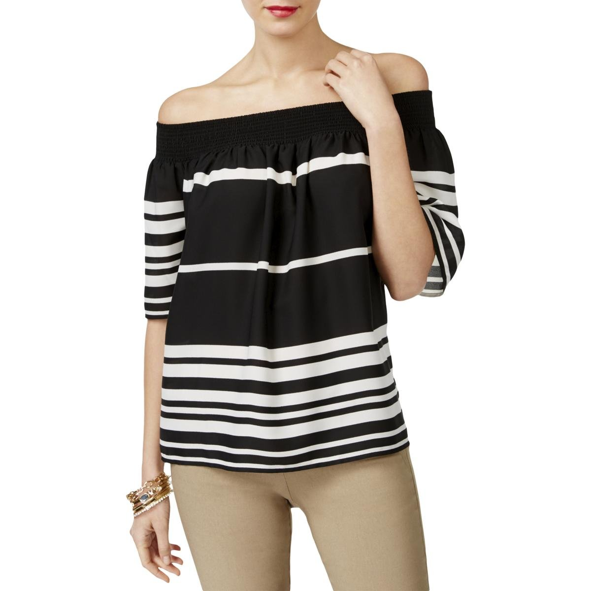Inc Womens Striped Off-The-Shoulder Pullover Top 77218M899
