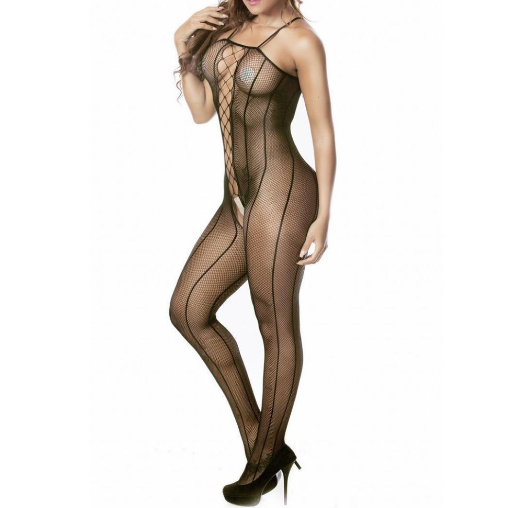 27184e2aebd Amazon.com  Kollmert Women Sexy Lingerie Sheer Fishnet Bodystocking Floral  Crotchless Babydoll Bodysuits  Clothing