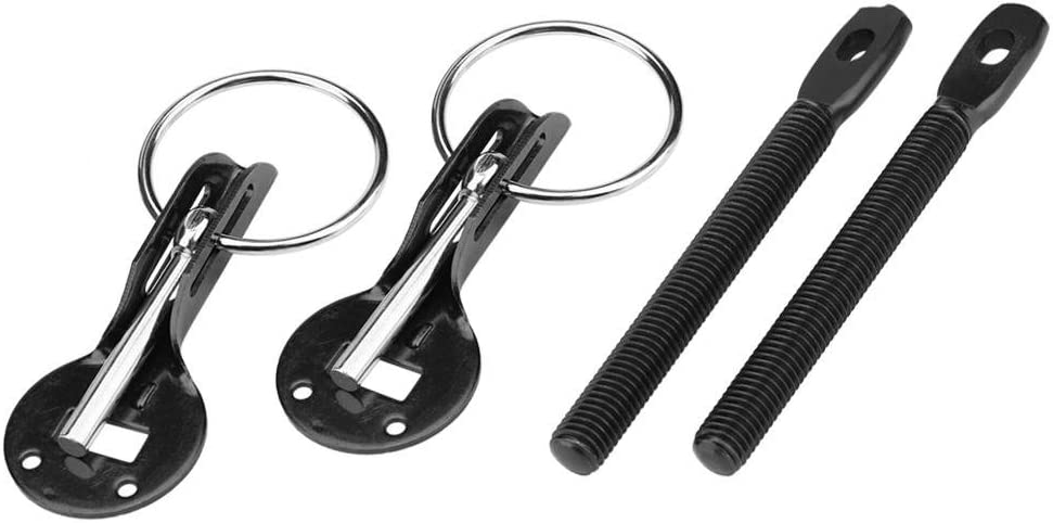 Kit chiavistello per perni cappuccio cofano universale per Racing Sport Car Black Qiilu Auto Cofani motore