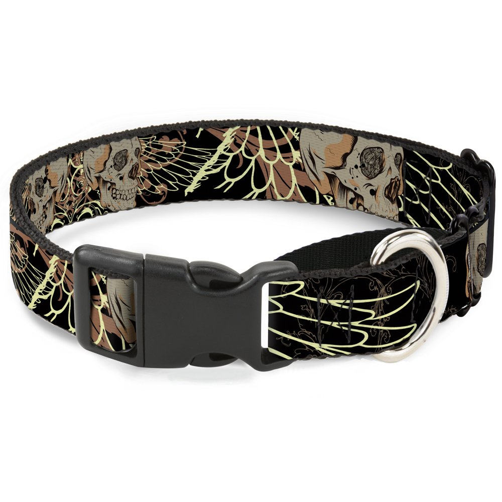 Buckle-Down Bd Die Hard Skull 02 Martingale Dog Collar, 1  Wide-Fits 9-15  Neck-Small