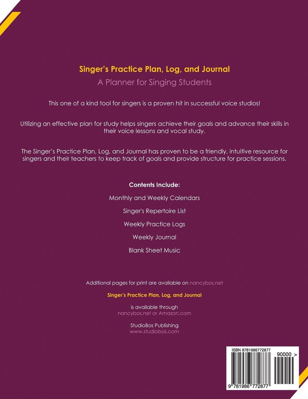 Singers Practice Plan Log And Journal