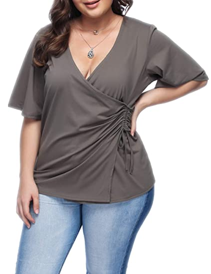 ab198010907 Lover-Beauty Women Plus Size Blouse Short Sleeve Blouse Top Wrap Front Side  Shirring V
