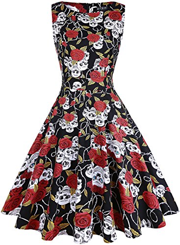 OTEN Women's Vintage 1950s Tea Dress Floral Spring Garden Party Rockabilly Cocktail Swing (30 Cherry Tea)