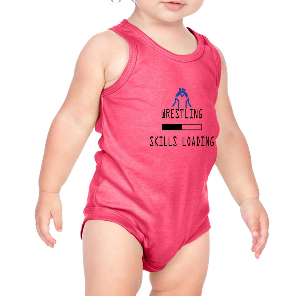 Wrestling Skills Loading Sport #2 Combed Ring-Spun Cotton 3/8 Neck Band Unisex Infant Bodysuit One Piece - Hot Pink, 18 Months by Cute Rascals