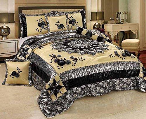 Tache 6 Piece Floral Winter Moon Faux Satin Patchwork Black/ Beige Comforter Set, ()
