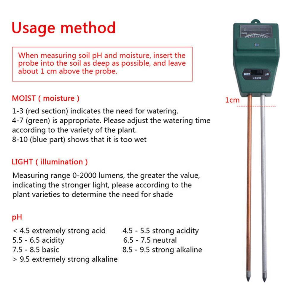 3-in-1-Bodentester Keine Batterie erforderlich pH-Messger/ät Indoor /& Outdoor Rasen f/ür Garten Boden-Thermometer S/äure-Messger/ät Bauernhof Shi Ran Boden-pH-Messger/ät Boden-