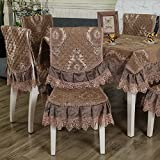 HuaShao The Dining Table, Dining Chairs Cushions Upholstery Fabrics Set The Chair Back Cover Set Home Dining Table Bench Cover Kit, Light Coffee-Colored 6 Seat Cushion Backrest &6 &130180Cm Dining