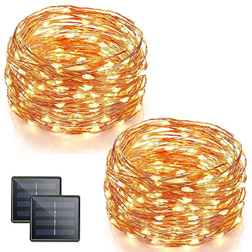 Vmanoo Solar String Lights, 32 Feet 100 LED Fairy Lights Copper Wire Starry String Lights, Indoor Outdoor Lighting for Home, Garden, Path, Lawn, Wedding, Xmas, DIY Decoration, 2-Pack (Warm White)