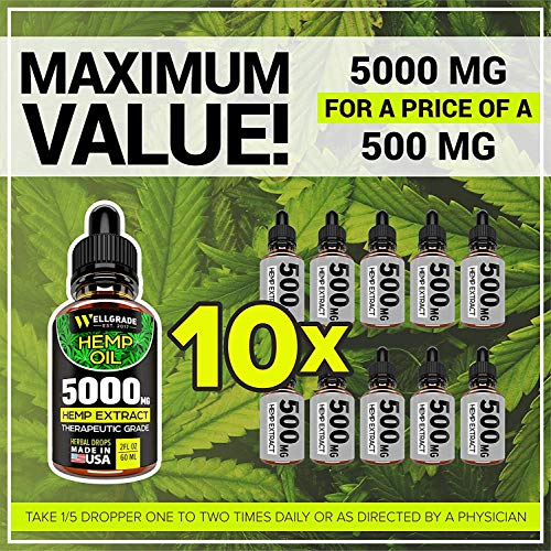 Hemp Oil for Pain & Anxiety Relief - 5000 MG - Premium Seed Grade - Natural Hemp Oil for Better Sleep, Mood & Stress - Improve Health - Vitamins & Fatty Acids - Made in The USA by Wellgrade est.2017 (Image #1)