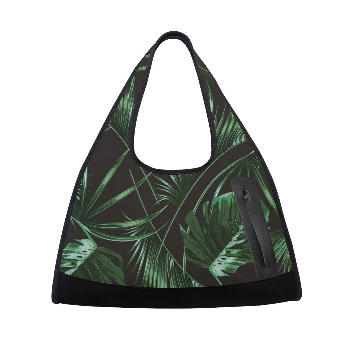 AHOMY Sports Gym Bag Green Tropic Palm Leaf Duffel Bag Travel Shoulder Bag