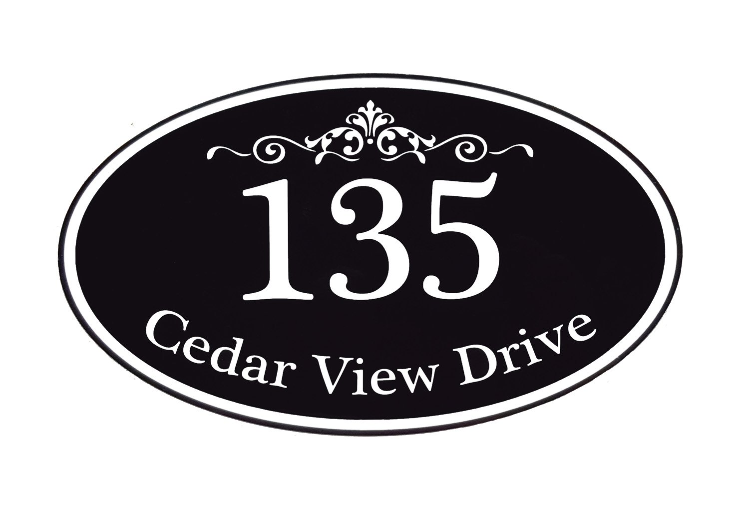 Customized Home Address Sign, Aluminum 12'' x 7'' Oval House Number Plaque, Personalized Color Choices Available (Black)
