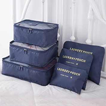 d51e1954f577 9Pcs Magik Waterproof Clothes Storage Bags Packing Cube Travel Luggage  Organizer Pouch (Navy)