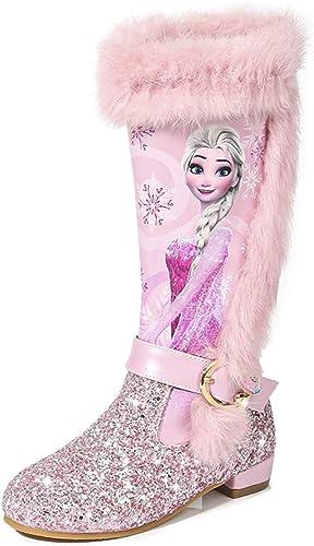LOBTY Fille Bottes Bottes à Talons Hauts Ballerine Neige Reine Bleue Paillettes Bottes Princesse Bottes de Vacances de Noël Mariage Festival d'hiver